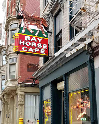 The exterior of Bay Horse Cafe and Roadhouse in downtown Cincinnati, Ohio.