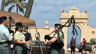 Bagpipers at  Waikiki War Memorial Natatorium Memorial Day 2018