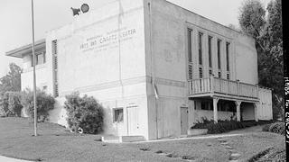 This 1965 photo shows the exterior signage for the recreation class.