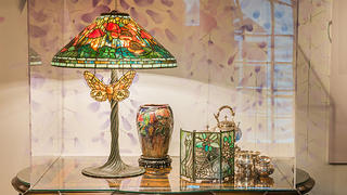 A lamp at the Becoming Tiffany exhibit at Lyndhurst.