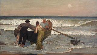 The painting Pushing Off the Boat at Sea Bright, New Jersey.