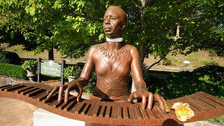 Bronze Nina Simone sculpture in downtown Tryon, North Carolina