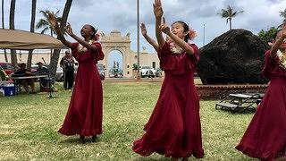 Dancers from Hula Halau Olana at Waikiki War Memorial Natatorium Memorial Day 2018