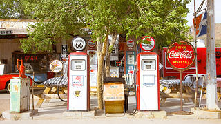 Old gas pumps at Hackberry General Store in Hackberry, Arizona