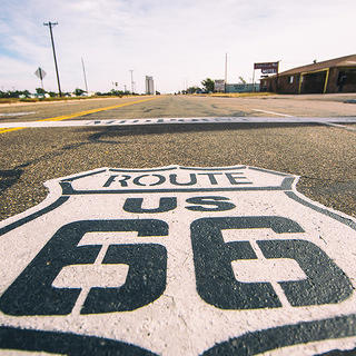 A Route 66 emblem in Adrian, Texas.