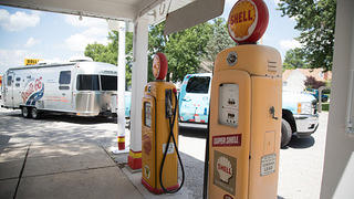Soulsby's Service Station Shell gas pumps, Mt. Olive, Illinois.