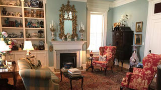 Interior shot of a sitting room in a historic Greek Revival home in Paris, Tennessee