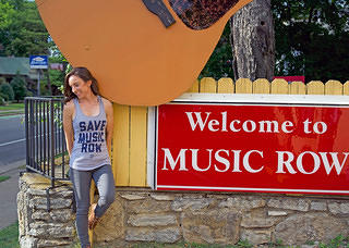 Woman wearing Save Music Row t-shirt