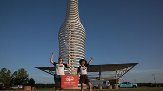 Exterior of Pops in Arcadia, Oklahoma with Roadie Lina Tran and National Trust staffer Diana Tisue.