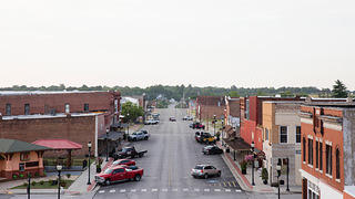 Rooftop view of street and historic buildings in downtown Galena, Kansas.