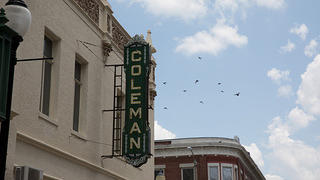 Exterior and Sign for Coleman Theatre, Miami, Oklahoma.