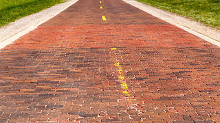 Brick road from alignment of Route 66 between Chatham and Auburn on Snell Rd. off Illinois Route 4.