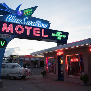 Neon sign outside the Blue Swallow Motel.