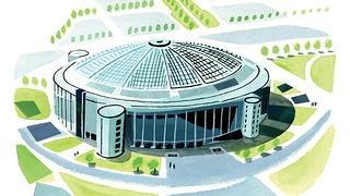 This illustrated image of the Astrodome highlights its special architecture.