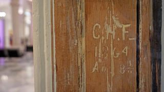 Small panel of graffiti preserved from Civil War at National Portrait Gallery in Washington, DC