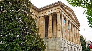 Portico of National Portrait Gallery building in Washington, DC