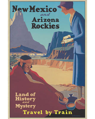 Poster promoting travel to New Mexico and Arizona by train, ca. 1925.