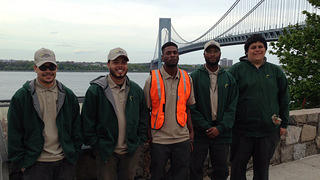 HOPE Crew corpsmembers stand at Fort Wadsworth at Gateway National Recreation Area.