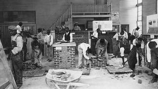 Brick masonry class at Tuskegee University, 1928.