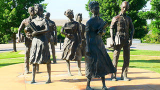 """Testament"" statue of the Little Rock Nine."