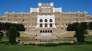 Facade of Central High School in Little Rock, Arkansas.