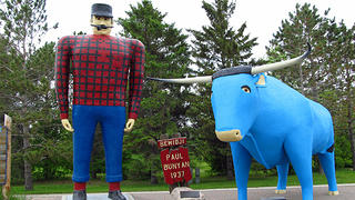 A statue of Paul Bunyan in Bemidji, Minnesota.
