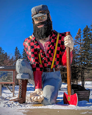 A statue of Paul Bunyan in Akeley, MN.