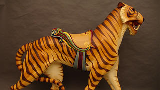 A restored tiger from the Watkins Regional Park Carousel.