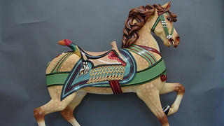 A restored horse from the Watkins Regional Park Carousel.