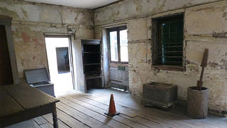 The kitchen at Aiken Rhett was the domain of the enslaved servants. You can see the tools they used to cook and the different layers of paint.