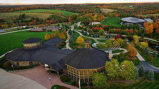 Arial view of Bethel Woods Center for the Arts and concert pavilion.