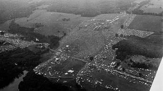 Historic arial shot of the 1969 Woodstock music festival.