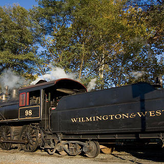 View of a steam engine on the Wilmington & Western Railroad