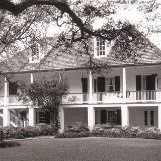 Melrose Plantation in black and white