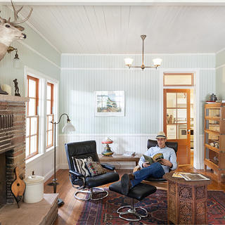 Andy Carpentier in Living Room, Sonora Cabin, photo by Kat Alves