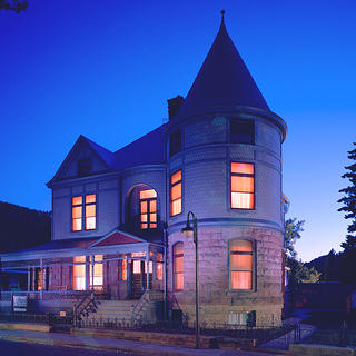 Historic Adams House by night.