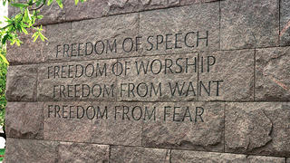 The finished lettering on the FDR Memorial in Washington, D.C.
