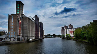 View of Silo City and the Buffalo River from the Ohio Street bridge.