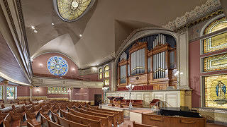 Newly renovated historic interior of the First, Church of Christ, Scientist Original Mother Church building in Boston