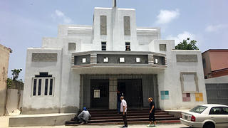 El Teatro Argel, an abandoned Art Deco theater building, has been rehabilitated and turned into a bakery