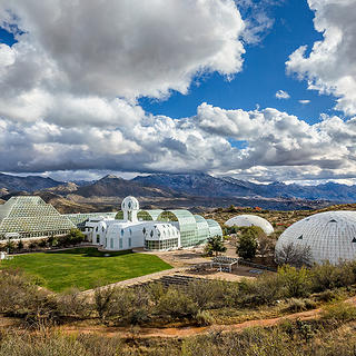 The exterior of Biosphere 2.