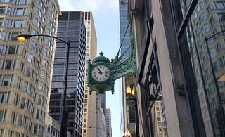 The Marshall's Field Clock in Chicago is one of the most eye-catching parts of the former Marshall Field's Building.