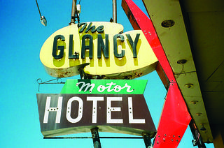 Taken with a Polaroid, the photo brings back the glam of the Glancy Motor Hotel in Oklahoma.