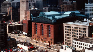 An aerial shot of Harold Washington Library.