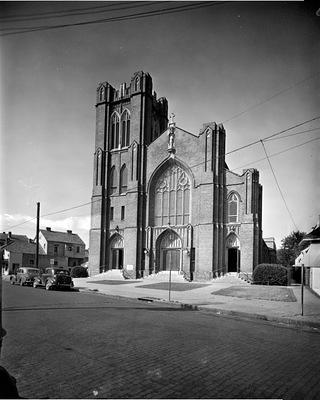 Historic photo of the St. Rose de Lima facade on Bayou Road.