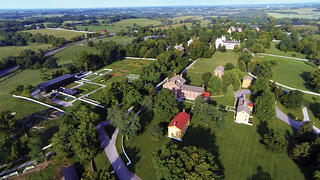 An aerial view of Shaker Village in Kentucky shows how expansive and rural it is.
