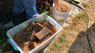 Soaking historic and dry bricks to make sure they're ready to be relaid is very important.