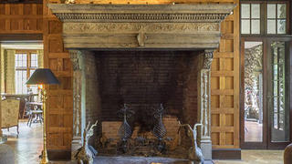 The fireplace in the Great Room of Rock Hall.