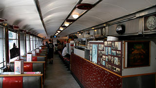 The Cheyenne prefab diner interior looks like a typical 1950s classic diner.