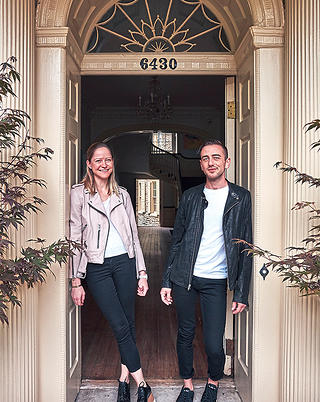 Owners Violette Levy and Alex Aberle at the entrance of Upsala.